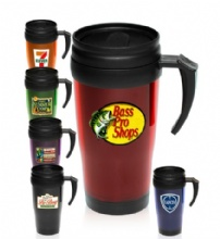 14 Oz. Basic Double Insulated Imprinted Plastic Travel Mugs