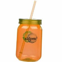 30OZ Plastic single wall mason jar  mug with straw